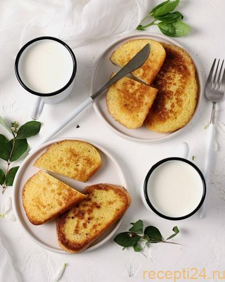 Гренки с молоком и яйцом на сковороде